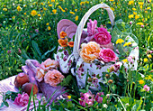Roses in and beside picnic basket, dishes, bottle, cloth, blanket
