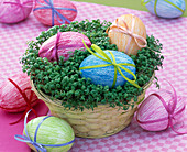 Easter eggs in the cress basket