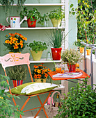 Small balcony with herbs on the shelf