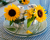 Flowers of Helianthus on napkin rings of grass around napkin