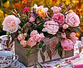 Pink (rose) bouquet, Calluna (broom heath)