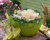 Brassica (ornamental cabbage) in salad bowl, salad servers