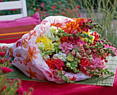 Antirrhinum (snapdragon) bouquet in paper