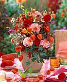 Bouquet of Dahlia, Physalis, Rosehips, Clematis