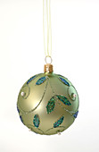 Green Christmas tree ball with tendril motif as a blank