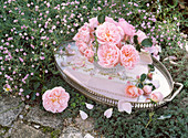 Small roses bouquet in crystal bowl on metal tray