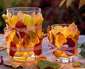Lantern with Parrotia (ironwood tree) autumn leaves