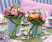 Small Bouquets of Pink (Rose) with Spartina (Golden Barley Grass)