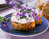 Herb quark with borage and chives on white bread