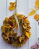 Parrotia and Prunus autumn leaves wreath