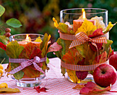 Lanters with autumn Parrotia and loop leaves, Malus