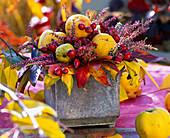 Bouquet from Chaenomeles, Liquidambar, Calluna