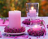 Wreaths of Erica (pottery) around candles and around lantern