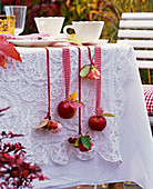 Malus, Rose, autumn leaves on the side of the table