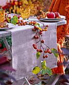 Malus branch with fruits and leaves as table garland