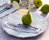 Pyrus with sign 'Bon appetit' on napkin, cutlery, Reliefeller