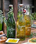 Herbal oil with salvia, thymus, rosmarinus
