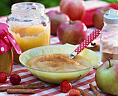 Applesauce out of malus (apples) with cinnamon in bowl, spoon