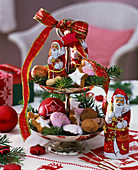 Shelves with Santa Claus chocolate and biscuits