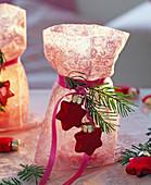 Lantern in pink fabric bags