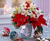 Strauß aus Helleborus (Christrosen), Euphorbia pulcherrima (Weihnachtsstern)