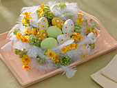 Easter wreath made with Narcissus (narcissus), viburnum (snowball)