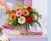 Bouquet of Gerbera, Pittosporum, Hedera, Asparagus