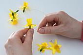 Daffodil garland as a napkin deco