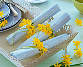 Napkin rings from narcissus flowers