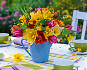 Tie colorful spring bouquet