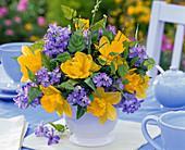 Blue - yellow spring bouquet stuck