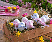 Easter eggs with ribbon and name 'Beate' 'Fabian' 'Diana' 'Cora' 'Thomas'