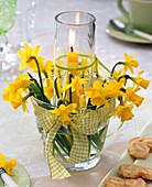 Lantern made of two nested glasses with narcissus