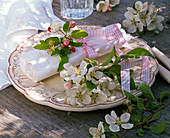 Napkin decoration with flowers of Malus (apple)