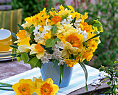 Bouquet of different Narcissus and Carpinus