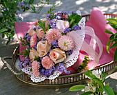 Bouquet made of Rose, bellis, myosotis