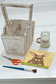 Wooden basket with napkin technique hare