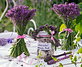 Lavandula bouquets, lavender sea salt bath in glass