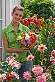 Woman with dahlia (dahlia bouquet)