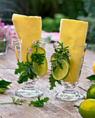 Table decoration with lemons