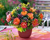 Roses with herbs, bouquet of rosa, Origanum, Salvia