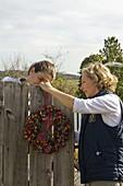 Hydrangeas and rose hip wreath