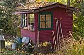 Red garden house with green windows in autumnal garden