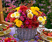 Table decoration with autumn chrysanthemums
