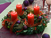 Mixed Advent wreath with Cupressus (cypress), Chamaecyparis