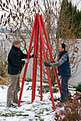 Tree object made of red rods