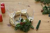 Christmas wreath with cinnamon sticks and orange slices