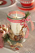 One-candle Advent wreath in mason jar