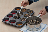 Homemade bird food in muffin baking dish