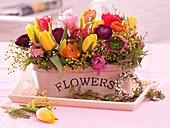 Colorful spring arrangement of tulipa, ranunculus